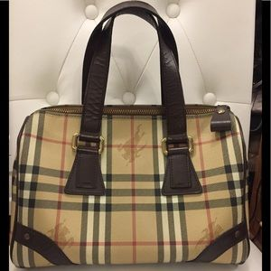Authentic Burberry haymarket bowling boston bag